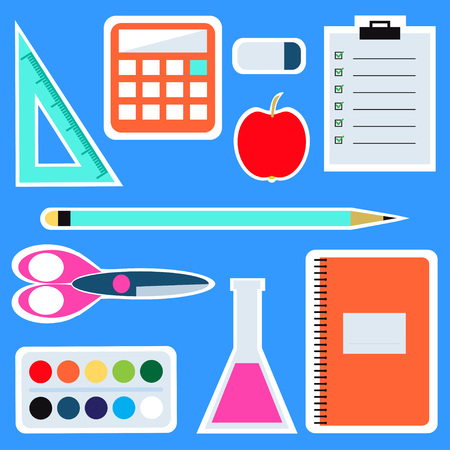 Set of colorful school items. School studying icons. Sticker style.