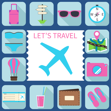 Summer and travel icons in modern, flat design style with long shadow effect in stylish colors. Stock Vector - 71190848