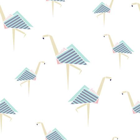 Flamingo seamless pattern. Origami style background. Geometrical style. Vector illustration. Illustration