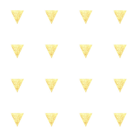 Seamless hand drawn gold triangles  pattern. Childrens background. Illustration