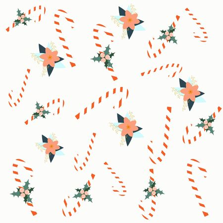 Christmas style seamless pattern. Vector illustration. Candy and flowers pattern. Illustration