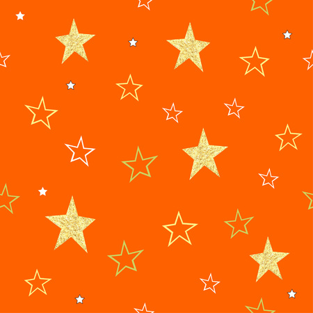 Orange halloween seamless pattern with gold stars. Halloween background. Can be used for cards, invitations, tags, backgrounds, packaging, wallpapers, fabric.