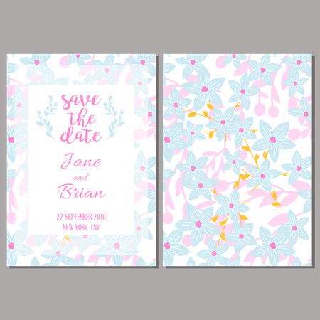 Save the data card template. Wedding invitation, baby shower, menu, flyer, banner template with flowers, background.
