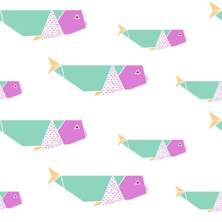 Origami whales seamless pattern. Japanese origami background. Geometrical style. Vector illustration.
