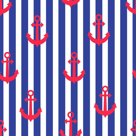 Stylish geometric seamless nautical pattern with anchors  and blue stripes. Design element for wallpapers, baby shower invitation, birthday card, scrapbooking, fabric print etc. Vector illustration.