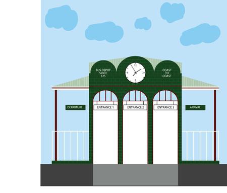 brick road: bus depot Illustration
