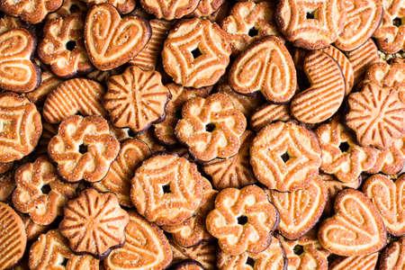 Alimentos de fondo con galletas de azúcar, vista superior