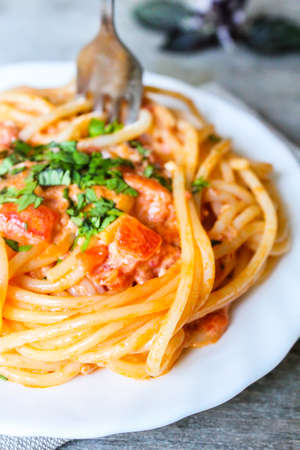 Spaghetti with vodka sauce topped with parmesan cheese and fresh parsley on a plate, selective focus Stock Photo