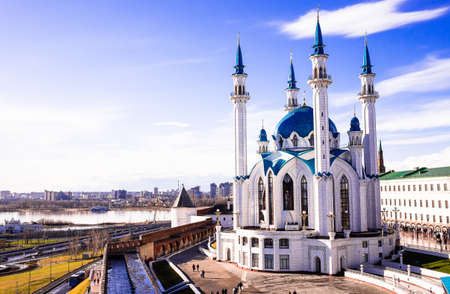 The Kol Sharif Mosque is located in Kazan Kremlin, Kazan, The Republic of Tatarstan in Russia. One of the largest mosques in Russia. Kazan city panoramic view. The mosque serves as a museum.