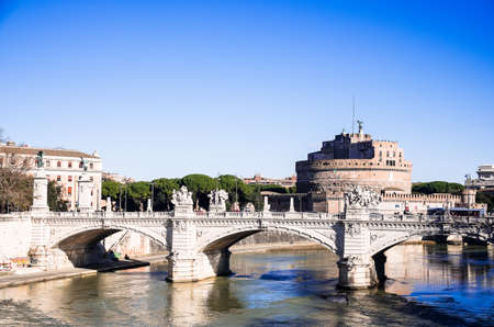 Sant Angelo Castle and Bridge in Rome, Italy. Towering cylindrical building in Parco Adriano in Rome, Italy. Italian landmark. Image with copy space. Editorial