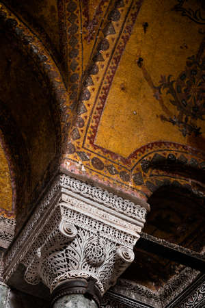 Istanbul, Turkey - September 20, 2014: Interior of the Hagia Sophia mosque in Sultanahmet district in Istanbul, Turkey. Structure built under the order of Justinian, and later turned into a mosque. Editorial