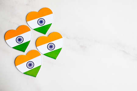 Indian Independence day color background. Celebration of the Indian Independence Day, the 15th of August. Copy space. Love India concept. Indian republic day.