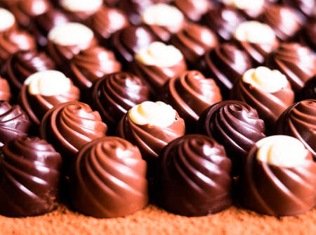 Premium collection of dark, milk and white chocolate sweets, selective focus. Chocolate background. Macro food. Collection of candies.