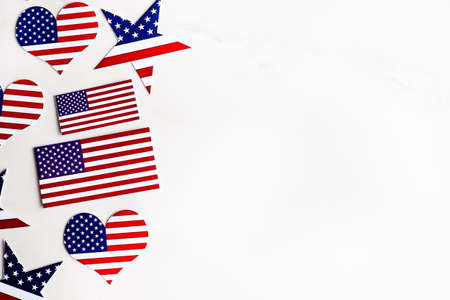 American Independence day background with blue, white and red mixed stars and hearts. Celebration of American Independence Day, the 4th of July (the Fourth of July). Holiday concept. With copy space. Banco de Imagens
