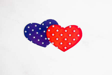 Couple of red and blue hearts isolated on white. Holiday concept. Valentines day postcard. With copy space.