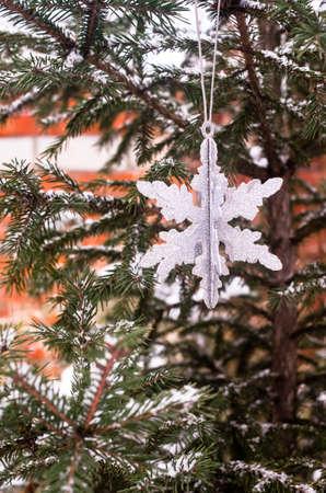 Christmas decoration, selective focus. Image with copy space. Christmas postcard.