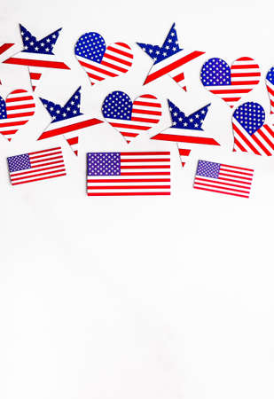 American Independence day  with blue, white and red mixed stars and hearts.
