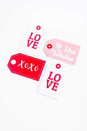 Valentines day postcard, top view. Valentines day background. Valentines Day symbols isolated on white.