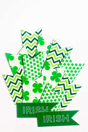 St. Patricks Day poster, top view. Isolated on white. Stock Photo