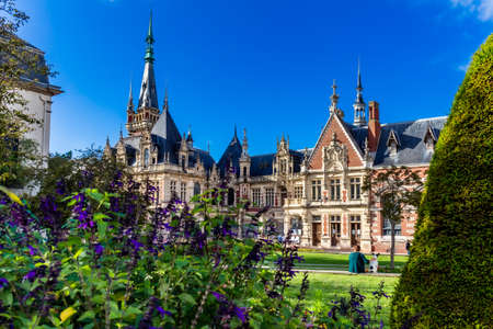 Fecamp, France - August 28, 2020. Benedictine Palace Museum, Fecamp, the Seine Maritime department in the Normandy region in northern France. Neo-Gothic and neo-renaissance styles chateau.