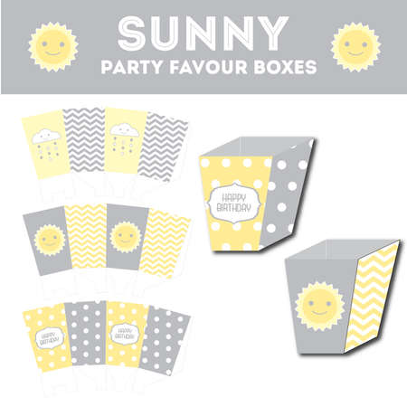 favor: Sunny party favor boxes template