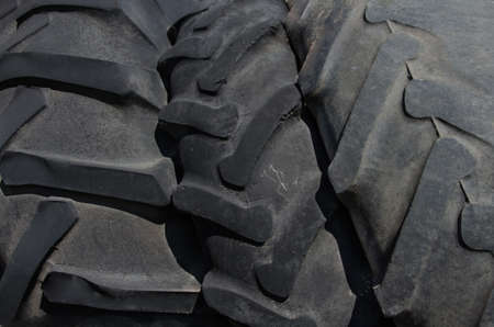 tyre tread: Three tires larger size. The tread pattern tires Stock Photo