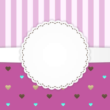 Illustration of pink stripped greeting card template with hearts Vector