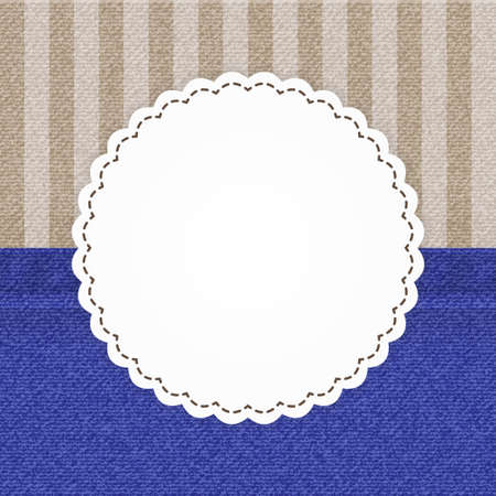 strippad: Illustration of jeans blue and stripped brown card template