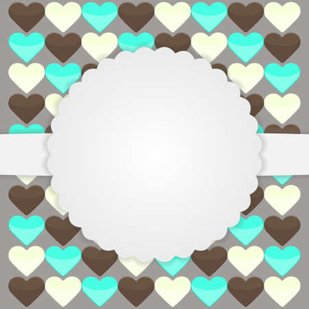 Illustration of brown card template with hearts Vector