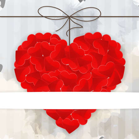 Illustration of red heart on a gray background Vector