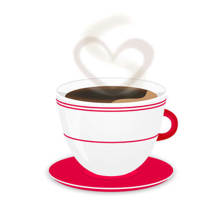 White coffee cup with heart steam.  Vector
