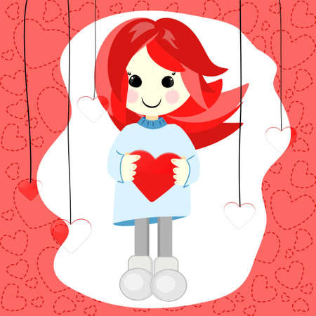 Girl with red hair and heart Vector