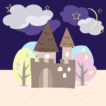Night castle with trees Vector