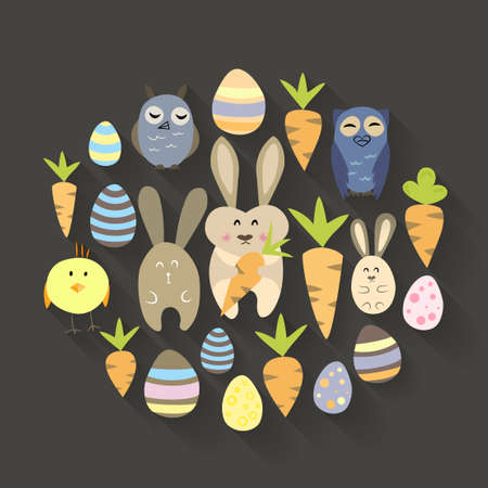 Illustration of Easter eggs birds rabbits and carrots icons set Vector