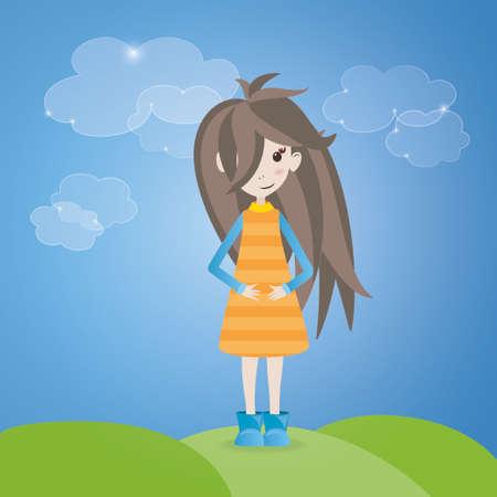 茶髪: 屋外の茶色の髪の女の子のイラスト
