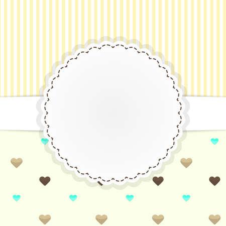 tarjeta amarilla: Modelo del vector tarjeta amarilla con corazones lindos