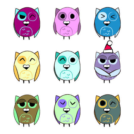 Colorful set Christmas owls Vector