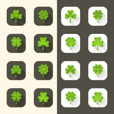 Illustration of green Clover icon set  Vector
