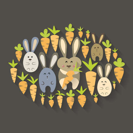 Illustration of Easter rabbits and carrots icon set Vector