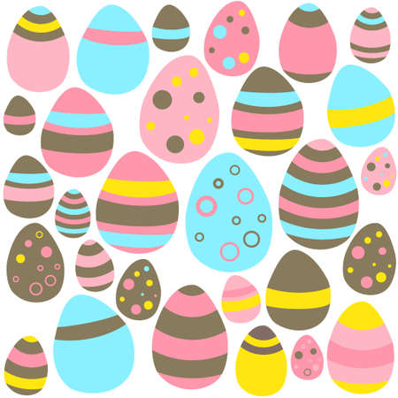 Illustration of Yellow blue and pink Eastern eggs seamless texture Vector