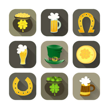 Illustration of St Patrick Day icon set Vector