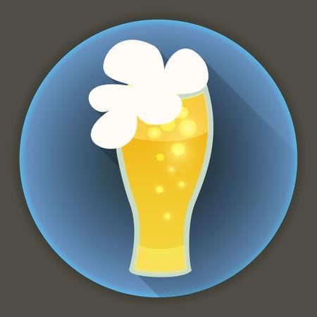 Illustration of St Patrick Day beer glass mug blue icon Vector