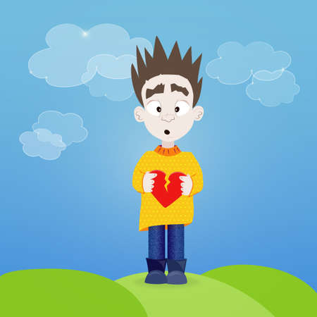 Illustration of Boy with broken heart in his hands outdoor Vector