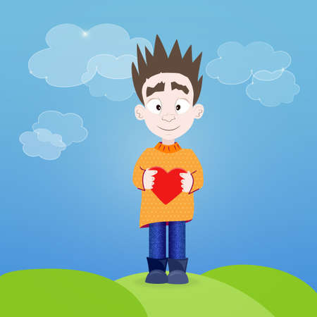 Illustration of Boy with heart in his hands outdoor Vector