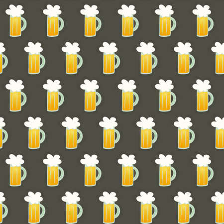 Illustration of Seamless pattern glass beer mug on a brown Vector