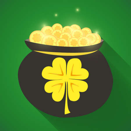 clover buttons: Illustration of St Patrick Day gold money icon