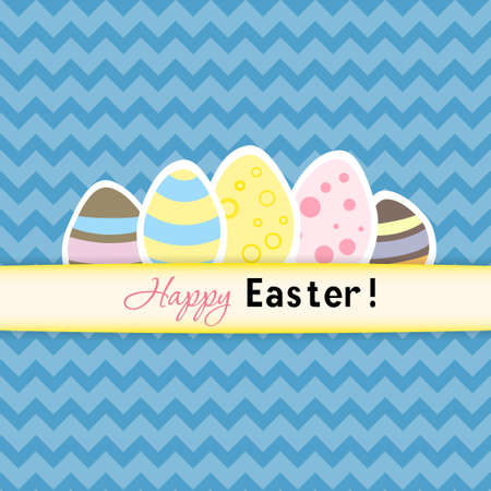 Illustration of Easter card with five eggs Vector