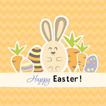 Illustration of Easter orange card with carrots and rabbit Vector
