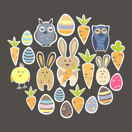 Illustration of colorful Easter set on a brown Vector