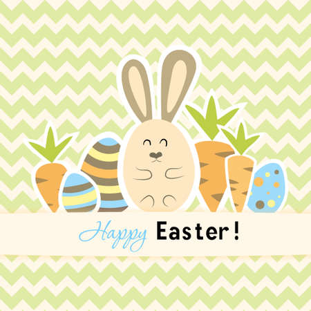 Illustration of Easter green card with carrots and rabbit Vector